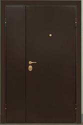 Дверь металлическая двустворчатая,  утепленная,  с полимерным покрытием